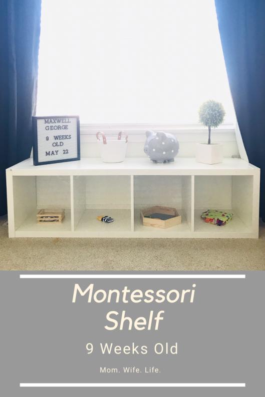 pinterest image of a 4 cube montessori shelf
