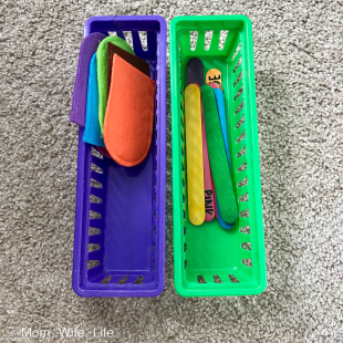 felt Popsicle and Popsicle sticks for color matching montessori